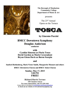 Tosca Concert Flyer - May 17, 2015